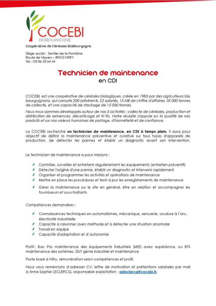 Emploi Technicien De Maintenance H F Cocebi